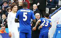 Leicester City Manager Claudio Ranieri hugs Leonardo Ulloa as he is substituted during the Barclays Premier League match between Leicester City and Swansea City played at The King Power Stadium, Leicester on April 24th 2016