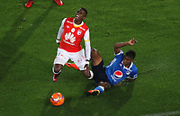 BOGOTA -COLOMBIA, 25-03-2017. Johan Arango (L)  player of Santa Fe fighs the ball agaisnt Harold Mosquera player of Millonarios Actions game between Santa Fe and Millonarios  during match for the date 2 of the Aguila League I 2017 played at Nemesio Camacho El Campin stadium . Photo:VizzorImage / Felipe Caicedo  / Staff