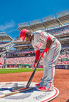 24 May 2015: Philadelphia Phillies outfielder Odubel Herrera prepares his bat in the on deck circle during a game against the Washington Nationals at Nationals Park in Washington, DC. The Nationals defeated the Phillies 4-1 to take the rubber game of their 3-game weekend series. Mandatory Credit: Ed Wolfstein Photo *** RAW (NEF) Image File Available ***