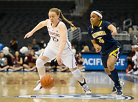 LOS ANGELES, CA - March 10, 2012: Guard Lindy La Rocque (15) of the Stanford University woman's basketball team competes against Cal during the PAC 12 Woman's Basketball Championship Game at the Staples Center in Los Angeles California. Final score Stanford won 77-62.