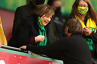 1st May 2021; Carrow Road, Norwich, Norfolk, England, English Football League Championship Football, Norwich versus Reading; Norwich City Manager Daniel Farke speaks with  Delia Ann Smith CH CBE after winning the EFL championship