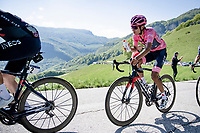 Maglia Rosa / Pink Jersey / GC Leader Egan Bernal (COL/Ineos Grenadiers) sipping from his bidon up the Passo di San Valentino (cat.1)<br /> <br /> 104th Giro d'Italia 2021 (2.UWT)<br /> Stage 17 from Canazei to Sega di Ala (193km)<br /> <br /> ©kramon