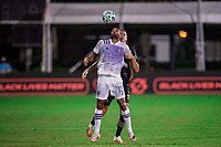 LAKE BUENA VISTA, FL - JULY 20: Tesho Akindele #13 of Orlando City SC battles for the ball during a game between Orlando City SC and Philadelphia Union at Wide World of Sports on July 20, 2020 in Lake Buena Vista, Florida.