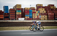 Mathieu van der Poel (NED/Alpecin-Fenix) & Taco van der Hoorn (NED/Intermarché - Wanty - Gobert Matériaux) as race leaders in the race finale<br /> <br /> Antwerp Port Epic / Sels Trophy 2021 (BEL)<br /> One day race from Antwerp to Antwerp (183km)<br /> <br /> The APC stands qualified as a 'road race', but with 36km of gravel and 28km of cobbled sections in and around the Port of Antwerp (BEL) this race occupies a unique spot in the Belgian race scene.<br /> <br /> ©kramon
