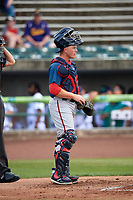 Potomac Nationals catcher Jakson Reetz (12) during the first game of a doubleheader against the Lynchburg Hillcats on June 9, 2018 at Calvin Falwell Field in Lynchburg, Virginia.  Lynchburg defeated Potomac 5-3.  (Mike Janes/Four Seam Images)