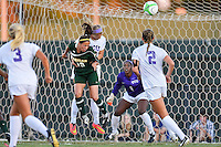 Baylor forward Bri Campos (10) goes up for the ball in front of TCU defender during first half of NCAA soccer game, Friday, October 03, 2014 in Waco, Tex. TCU and Baylor are tied 1-1 at the halftime. (Mo Khursheed/TFV Media via AP Images)