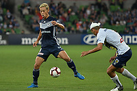 Melbourne, April 14, 2019 - Former Japanese International player Keisuke Honda (4) of Melbourne Victory in action in the round 25 match of the A-League between Melbourne Victory and Central Coast Mariners at AAMI Park, Melbourne, Australia.