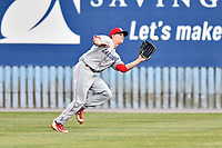 Lakewood BlueClaws center fielder Mickey Moniak (22) runs down a fly ball during a game against the Beer City Tourists at McCormick Field on June 1, 2017 in Asheville, North Carolina. The Tourists defeated the BlueClaws 8-5. (Tony Farlow/Four Seam Images)