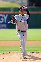 Columbus Clippers starting pitcher T.J. McFarland, making his Triple-A debut, delivers a pitch during a game against the Buffalo Bisons at Coca-Cola Field on May 31, 2012 in Buffalo, New York.  Columbus defeated Buffalo 3-0.  (Mike Janes/Four Seam Images)