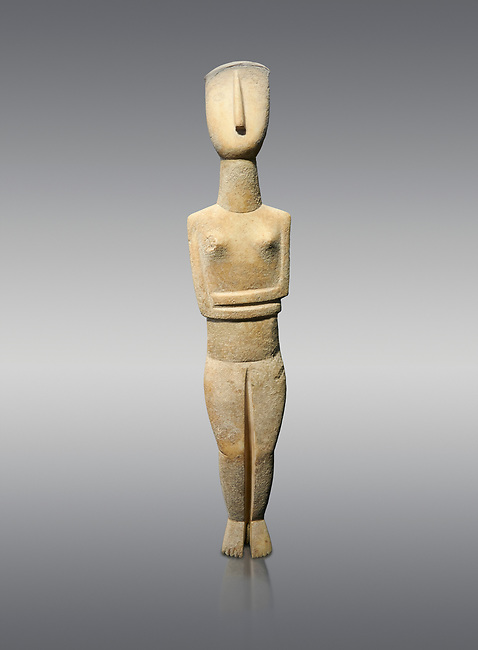 Female Cycladic Canonical type, Spedos variety female figurine statuette. Early Cycladic Period II from Syros phase (2800-2300 BC). Museum of Cycladic Art Athens,  Against Grey Background. <br /> <br /> The cycladic figurine has a band etched high on its forehead and a large area on the back of the head of spiralling curls. The surface has probably been protected by paint and the outline of the left eye paint is still detectable as a greyish tinge. It can be assumed that both hair and eyes were painted. Canonical type, Spedos variety