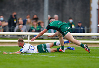 11th September 2021; Galway Greyhound Stadium, Connacht, Galway, Ireland; Pre-season rugby union, Connacht versus London Irish; Matt Williams (London Irish) dives and crosses the line for a try in the 55th minute