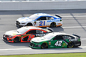 #19: Martin Truex Jr., Joe Gibbs Racing, Toyota Camry Bass Pro Shops, #42: Kyle Larson, Chip Ganassi Racing, Chevrolet Camaro Clover, #21: Paul Menard, Wood Brothers Racing, Ford Mustang Quick Lane Tire & Auto Center
