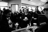 Concord, New Hampshire.January 8, 2008 ..Democratic presidential hopeful and New York Senator Hillary Clinton campaigns and daughter Chelsea visit a Dunkin Donut on the day of the state primary...