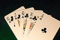 Royal flush, the best possible five card hand in poker.