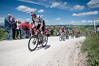 """breakaway group led by Bert-Jan Lindeman (NED/Qhubeka ASSOS) on the first gravel sector of the stage<br /> <br /> 104th Giro d'Italia 2021 (2.UWT)<br /> Stage 11 from Perugia to Montalcino (162km)<br /> """"the Strade Bianche stage""""<br /> <br /> ©kramon"""