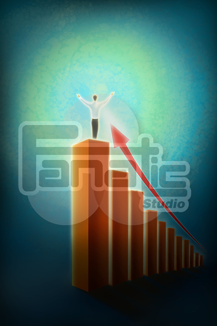 Illustrative image of businessman standing on bar graph representing victory