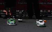 Apr. 15, 2012; Concord, NC, USA: NHRA sponsor Traxxas midway display with radio controlled funny cars of John Force and Mike Neff racing during the Four Wide Nationals at zMax Dragway. Mandatory Credit: Mark J. Rebilas-