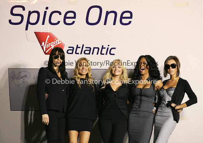 """Melanie Chisholm, Geri Halliwell, Emma Bunton, Melanie Brown, and Victoria Beckham of The Spice Girls attend The Virgin Atlantic announcement of """"Spice One"""" , The jumbo jet named in honor of The Spice Girls and their world tour held at LAX in Los Angeles, California on December 12,2007                                                                                                 Copyright 2007 Debbie VanStory/RockinExposures"""