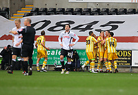 ATTENTION SPORTS PICTURE DESK<br /> Pictured: Andy Carroll of Newcastle United is mobbed by team mates <br /> Re: Coca Cola Championship, Swansea City Football Club v Newcastle United at the Liberty Stadium, Swansea, south Wales. 13 February 2010
