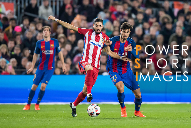 Yannick Ferreira Carrasco (l) of Atletico de Madrid fights for the ball with Andre Filipe Tavares Gomes of FC Barcelona during their Copa del Rey 2016-17 Semi-final match between FC Barcelona and Atletico de Madrid at the Camp Nou on 07 February 2017 in Barcelona, Spain. Photo by Diego Gonzalez Souto / Power Sport Images