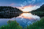 summer sunrise,2 morning at Lily Lake in Rocky Mountain National Park, USA