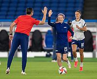 YOKOHAMA, JAPAN - JULY 30: Vlatko Andonovski high fives Megan Rapinoe #15 of the USWNT before a game between Netherlands and USWNT at International Stadium Yokohama on July 30, 2021 in Yokohama, Japan.