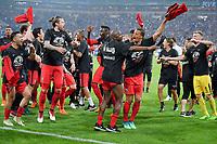 18.04.2018, Football DFB Pokal 2017/2018, semi final , FC Schalke 04 - Eintracht Frankfurt, in Veltins Arena auf Schalke.  celebration  Frankfurter.   *** Local Caption *** © pixathlon<br /> <br /> Contact: +49-40-22 63 02 60 , info@pixathlon.de