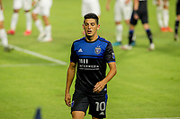 CARSON, CA - OCTOBER 14: Cristian Espinoza #10 of the San Jose Earthquakes walks to the corner during a game between San Jose Earthquakes and Los Angeles Galaxy at Dignity Heath Sports Park on October 14, 2020 in Carson, California.