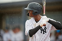 GCL Yankees East Leonel Hernandez (45) bats during a Gulf Coast League game against the GCL Phillies East on July 31, 2019 at Yankees Minor League Complex in Tampa, Florida.  GCL Phillies East defeated the GCL Yankees East 4-3 in the second game of a doubleheader.  (Mike Janes/Four Seam Images)