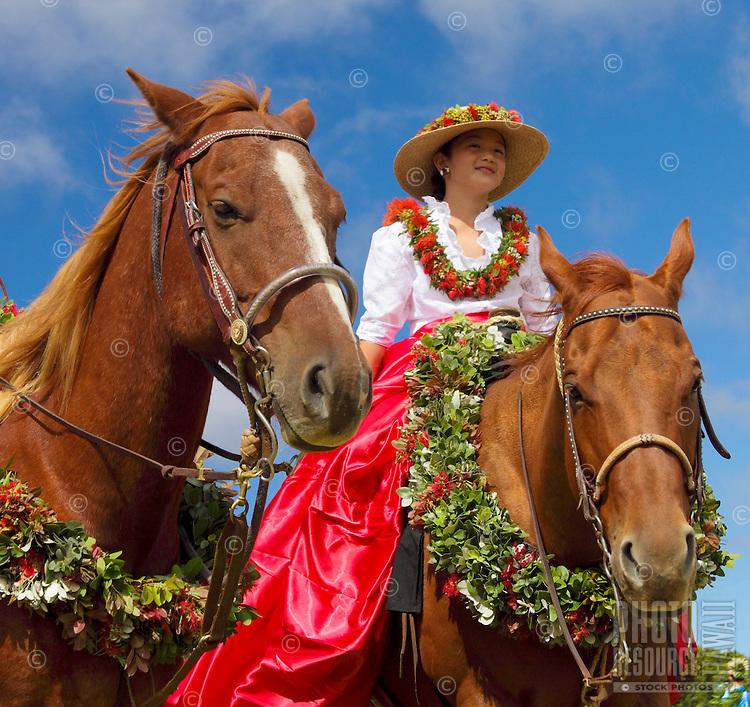 Keiki pau  rider before start of the Waimea Paniolo Parade