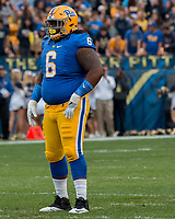 Pitt defensive lineman Tyrique Jarrett. The Pitt Panthers defeated the Georgia Tech Yellow Jackets 37-34 at Heinz Field in Pittsburgh, Pennsylvania on October 08, 2016.