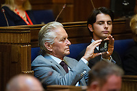 Michael Douglas during the ceremony at the Guildhall in Swansea, Wales, UK. Wednesday 24 July 2019<br /> Re: Catherine Zeta-Jones receives the honorary freedom of the City and County of Swansea during a ceremony at the Guildhall in Swansea, Wales, UK.