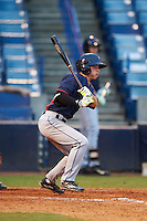 Cory Wood (2) of Sanderson High School in Raleigh, North Carolina playing for the Cleveland Indians scout team during the East Coast Pro Showcase on July 29, 2015 at George M. Steinbrenner Field in Tampa, Florida.  (Mike Janes/Four Seam Images)