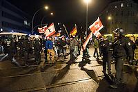 Ca. 90 Hooligans und Nazis beteiligten sich am Montag den 1. Februar 2016 im Berliner Stadtteil Prenzlauer Berg an einer NPD-Demonstration gegen Asyl und Fluechtlinge. Die aggressive Demonstration wurde von lautstarken Protesten mehrerer hundert Gegendemonstranten begleitet. Die Demonstrationsroute wurde auf Anweisung der Polizei um 2/3 gekuerzt.<br /> 1.2.2016, Berlin<br /> Copyright: Christian-Ditsch.de<br /> [Inhaltsveraendernde Manipulation des Fotos nur nach ausdruecklicher Genehmigung des Fotografen. Vereinbarungen ueber Abtretung von Persoenlichkeitsrechten/Model Release der abgebildeten Person/Personen liegen nicht vor. NO MODEL RELEASE! Nur fuer Redaktionelle Zwecke. Don't publish without copyright Christian-Ditsch.de, Veroeffentlichung nur mit Fotografennennung, sowie gegen Honorar, MwSt. und Beleg. Konto: I N G - D i B a, IBAN DE58500105175400192269, BIC INGDDEFFXXX, Kontakt: post@christian-ditsch.de<br /> Bei der Bearbeitung der Dateiinformationen darf die Urheberkennzeichnung in den EXIF- und  IPTC-Daten nicht entfernt werden, diese sind in digitalen Medien nach §95c UrhG rechtlich geschuetzt. Der Urhebervermerk wird gemaess §13 UrhG verlangt.]