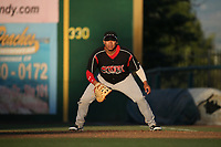 Josh Naylor (32) of the Lake Elsinore Storm in the field at first base during a game against the Inland Empire 66ers at San Manuel Stadium on April 29, 2017 in San Bernardino, California. Inland Empire defeated Lake Elsinore, 3-1. (Larry Goren/Four Seam Images)