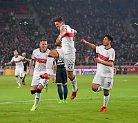 13.01.2018,  Football 1.Liga 2017/2018, 18. match day, VfB Stuttgart - Hertha BSC Berlin, in Mercedes-Benz-Arena Stuttgart. , v.li: Daniel Ginczek (Stuttgart), Mario Gomez (Stuttgart), Berkay OEzcan (Stuttgart),  *** Local Caption *** © pixathlon<br /> <br /> +++ NED + SUI out !!! +++<br /> Contact: +49-40-22 63 02 60 , info@pixathlon.de