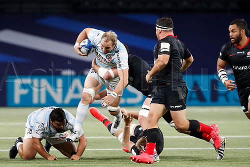 26th September 2020, Paris La Défense Arena, Paris, France; Champions Cup rugby semi-final, Racing 92 versus Saracens; Claassen (Racing 92) skips a tackle
