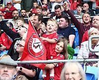 28th August 2021; Cardiff City Stadium, Cardiff, Wales;  EFL Championship football, Cardiff versus Bristol City; Young Bristol City fans enjoy the game