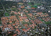 aerial photograph of an overview of the Stanford University campus, Palo Alto, Santa Clara County, California