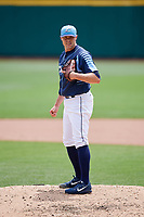 Columbus Clippers relief pitcher Matt Belisle (48) looks in for the sign during a game against the Gwinnett Stripers on May 17, 2018 at Huntington Park in Columbus, Ohio.  Gwinnett defeated Columbus 6-0.  (Mike Janes/Four Seam Images)