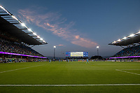 SAN JOSE, CA - AUGUST 17: PayPal Park sunset during a game between San Jose Earthquakes and Minnesota United FC at PayPal Park on August 17, 2021 in San Jose, California.