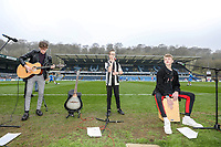 Princes to Kings group play ahead of the Celebrity football match in aid of the charity's 'Keep Moving Forward' programme which benefits people with mental health issues put together by Wycombe Wanderers Sports & Education Trust and Sellebrity Soccer Football Match at Adams Park, High Wycombe, England on 7 April 2019. Photo by David Horn.