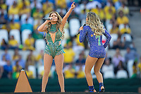 JLO and local Brazilian singer Claudia Leitte sings at the FIFA World Cup Opening Ceremony