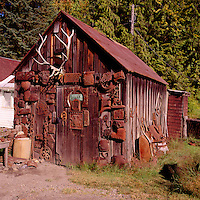Sandon, a Historic Silver Rush Mining Ghost Town in the Kootenay Region, BC, British Columbia, Canada - Old Storage Shed with Artifacts