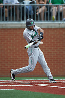 DJ Gee (3) of the Marshall Thundering Herd at bat against the Charlotte 49ers at Hayes Stadium on April 23, 2016 in Charlotte, North Carolina. The Thundering Herd defeated the 49ers 10-5.  (Brian Westerholt/Four Seam Images)