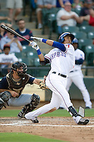 Round Rock Express outfielder Leonys Martin #40 at bat during a game against the New Orleans Zephyrs at the Dell Diamond on July 21, 2011 in Round Rock, Texas.  New Orleans defeated Round Rock 7-4.  (Andrew Woolley/Four Seam Images)