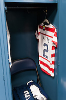 The locker for Heather Mitts (2) of the United States (USA). The United States (USA) and Germany (GER) played to a 2-2 tie during an international friendly at Rentschler Field in East Hartford, CT, on October 23, 2012.