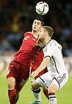 Spain's Alvaro Morata (l) and Germany's Mustafi during international friendly match.November 18,2014. (ALTERPHOTOS/Acero)