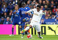 Leroy Fer of Swansea City and Ngolo Kante of Leicester City during the Barclays Premier League match between Leicester City and Swansea City played at The King Power Stadium, Leicester on April 24th 2016