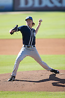 Asheville Tourists starting pitcher Sam Howard (32) in action against the Kannapolis Intimidators at Intimidators Stadium on June 28, 2015 in Kannapolis, North Carolina.  The Tourists defeated the Intimidators 6-4.  (Brian Westerholt/Four Seam Images)